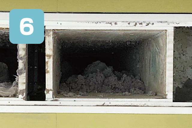 乾排気ダクト清掃手順、集中ダクトの外側からも清掃