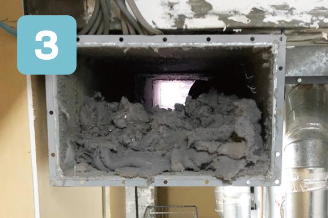 乾排気ダクト清掃手順、集中ダクト内を清掃